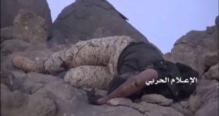 الصورة لأحد قتلى مرتزقة العدوان السعودي الأمريكي قتلوا خلال محاولة زحف باتجاه منطقة البقع من جهة نجران