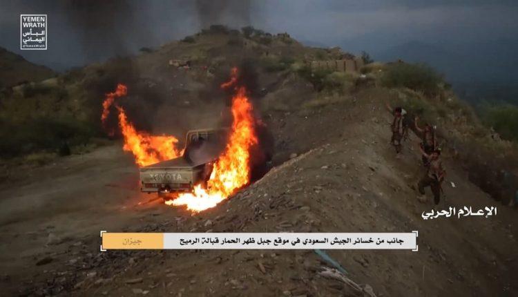 إحراق طقم سعودي في جيزان